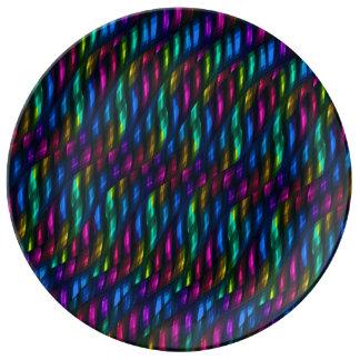 Ilustraciones magentas azules del extracto del mos platos de cerámica