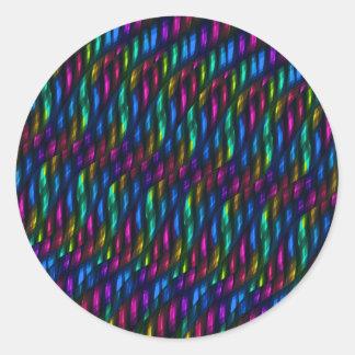 Ilustraciones magentas azules del extracto del pegatina redonda