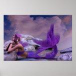 Ilustraciones místicas de la sirena de la fantasía póster
