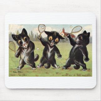 Ilustraciones negras de tres gatos del tenis de Lo Alfombrilla De Raton