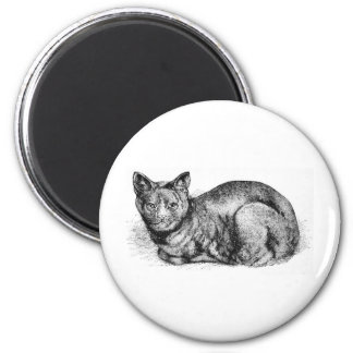 Ilustraciones negras del gato de casa imán redondo 5 cm