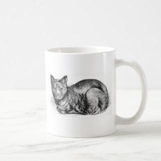 Ilustraciones negras del gato de casa taza de café