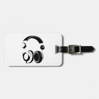 Ilustraciones negras y blancas del auricular etiquetas para maletas