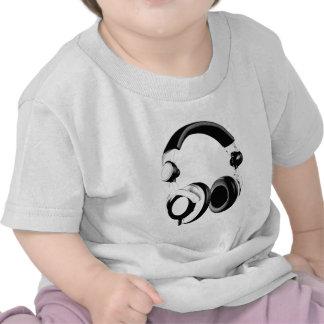 Ilustraciones negras y blancas del auricular camisetas