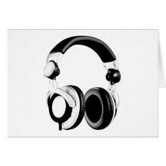 Ilustraciones negras y blancas del auricular tarjeta de felicitación