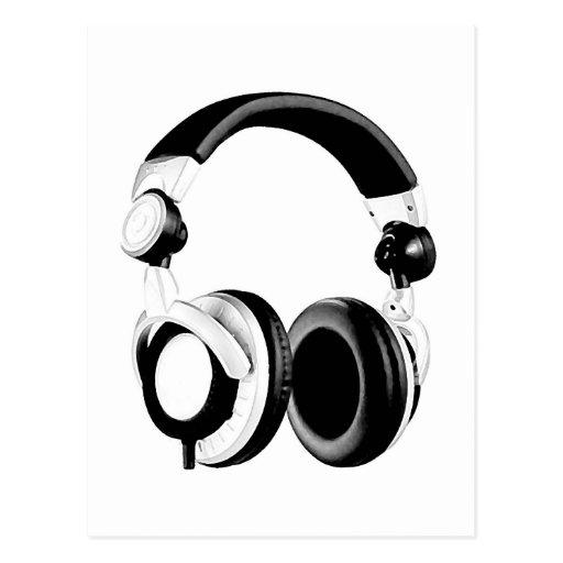 Ilustraciones negras y blancas del auricular postales