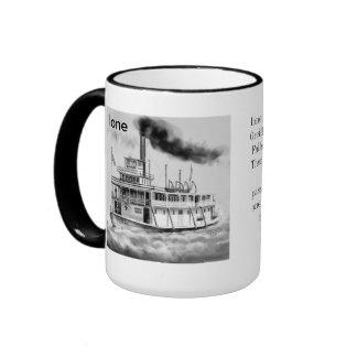 Ilustraciones originales del barco de vapor de taza a dos colores
