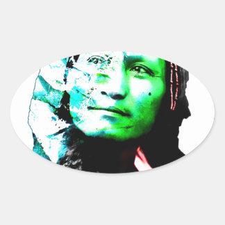 Ilustraciones originales del nativo americano del pegatina ovalada