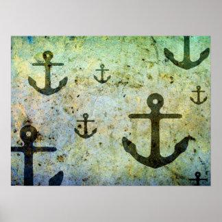 Ilustraciones oxidadas de las anclas posters