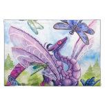 Ilustraciones púrpuras de la primavera de la libél manteles individuales