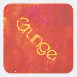 Ilustraciones rojas del extracto del Grunge Pegatina Cuadrada