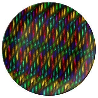 Ilustraciones rojas del extracto del mosaico del v plato de cerámica