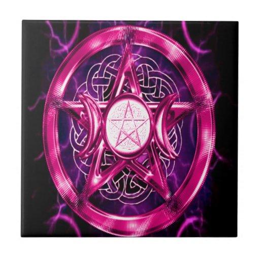 Ilustraciones rosadas del pentáculo azulejo ceramica