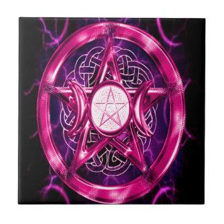 Ilustraciones rosadas del pentáculo azulejo cuadrado pequeño