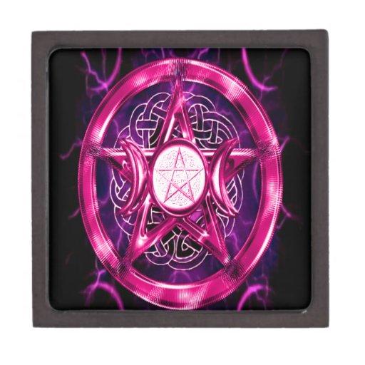 Ilustraciones rosadas del pentáculo caja de joyas de calidad