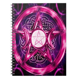Ilustraciones rosadas del pentáculo libro de apuntes