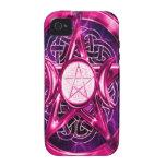 Ilustraciones rosadas del pentáculo iPhone 4/4S carcasas