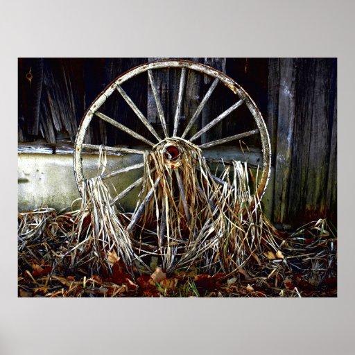 Ilustraciones rústicas de la rueda de carro del vi poster