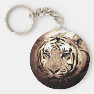 Ilustraciones salvajes del tigre llavero redondo tipo pin