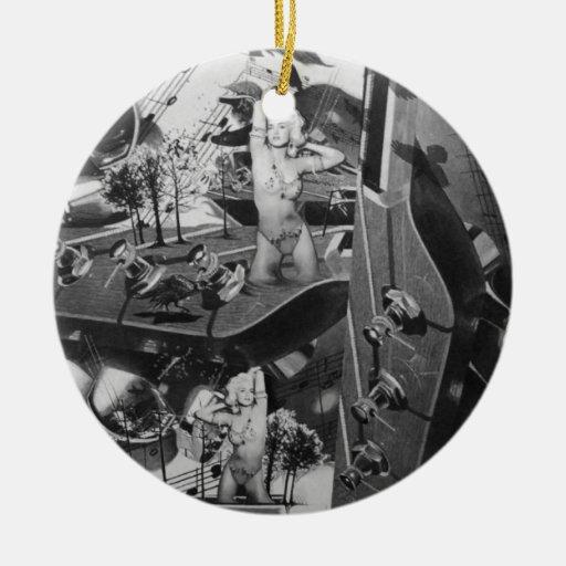 Ilustraciones surrealistas del paisaje de la guita adornos de navidad