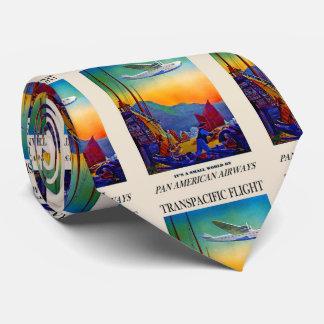 Ilustraciones transpacíficas del viaje del vintage corbata personalizada