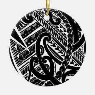 ilustraciones tribales invertidas del diseño samoa adorno de navidad