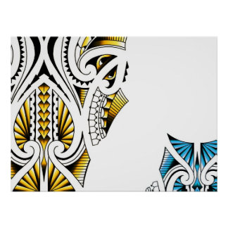 Ilustraciones tribales maoríes del tatuaje póster