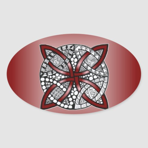 Ilustraciones únicas del nudo céltico rojo pegatina ovalada