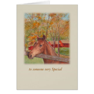 Ilustrated horse bucolic landscape custom card