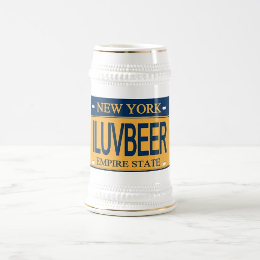 ILUVBEER New York License Plate Beer Stein 18 Oz Beer Stein