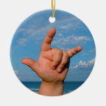 ILY hand under a rainbow  Sign Language Double-Sided Ceramic Round Christmas Ornament
