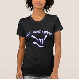 ILY Was Here - Blue 2 on Black T-Shirt
