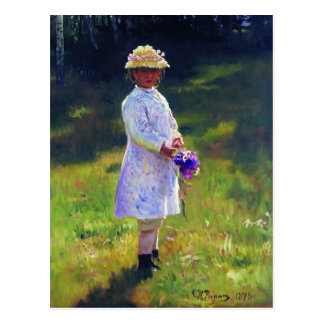 Ilya Repin- Girl with Flowers. Daughter of Artist. Post Card