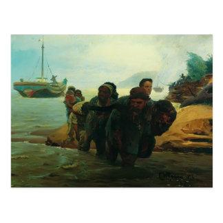 Ilya Repin- Haulers cross wade Postcard