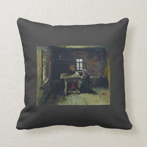 Ilya Repin- In the hut Throw Pillows