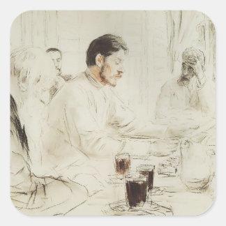 Ilya Repin: Maxim Gorky reading in The Penates Square Sticker