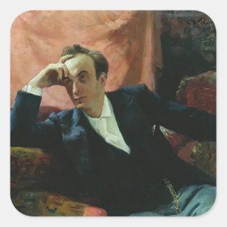 Ilya Repin- Portrait of actor and dramatist Square Sticker