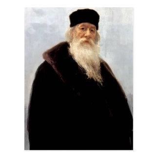 Ilya Repin- Portrait of Art Critic Vladimir Stasov Post Card
