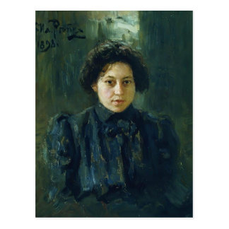 Ilya Repin- Portrait of artist daughter Nadezhda Post Card