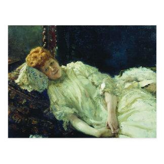 Ilya Repin- Portrait of Luiza Mersi D'arzhanto Postcard