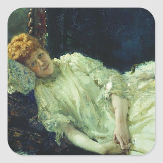 Ilya Repin- Portrait of Luiza Mersi D'arzhanto Square Sticker