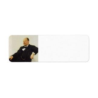 Ilya Repin-Portrait of the composer Anatoly Lyadov Custom Return Address Label