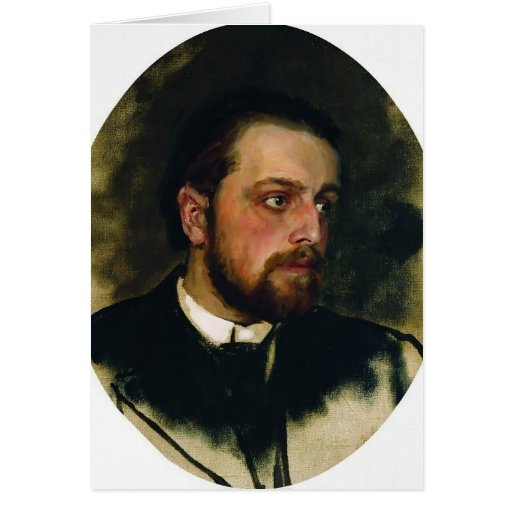 Ilya Repin- Portrait of writer Vladimir Chertkov Greeting Card