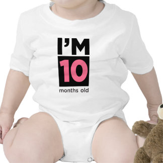 I'm 10 Months Old Pink Baby Bodysuits