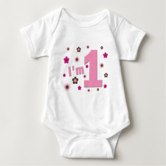 """""""I'm 1"""" Pink And Brown Flowers Birthday Baby Bodysuit"""