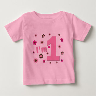 """I'm 1"" Pink And Brown Flowers Birthday Baby T-Shirt"