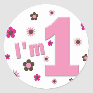 """""""I'm 1"""" Pink And Brown Flowers Birthday Classic Round Sticker"""