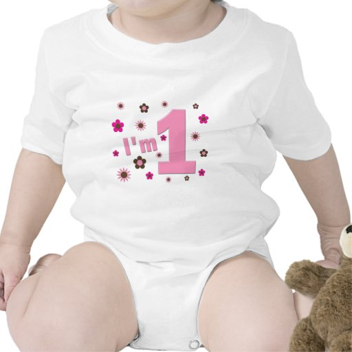 """I'm 1"" Pink And Brown Flowers Birthday T Shirt"