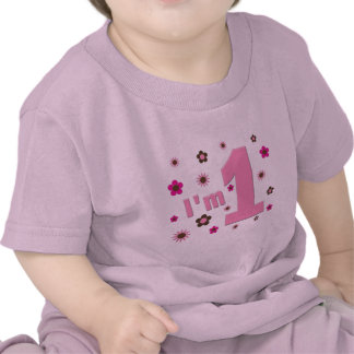 """""""I'm 1"""" Pink And Brown Flowers Birthday Tshirts"""