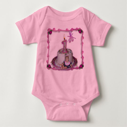 I'm 1 (Pink bordered Baby Bodysuit